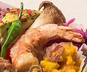 天然海老のフリッター季節野菜添え