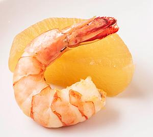 天然海老と季節野菜のフリッター サルサソース添え