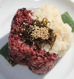 合鴨農法の2色ごはん 自家製北海道産昆布の佃煮乗せ