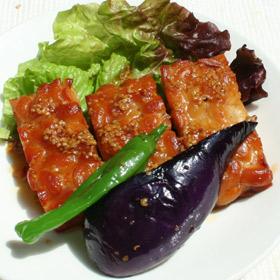 テンペと野菜のマスタード醤油ソース