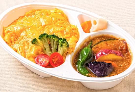 自然卵の肉味噌オムライス弁当